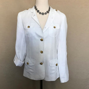 Coldwater Creek White Linen Blend Jacket